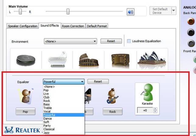 Улучшение звука при помощи «Realtek High Definition Codecs»