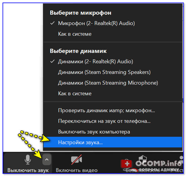 Zoom - параметры микрофона
