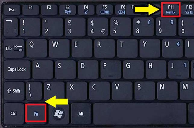 Нажатие клавиш Fn и Num Lock.