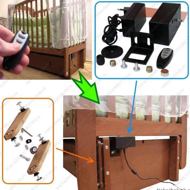 Кроватка с маятником ручной и электрический механизм