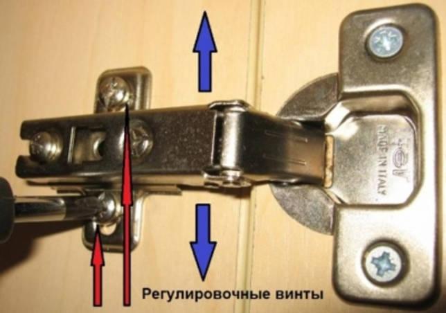 Регулировка петель на дверцах шкафа: вертикальный способ, регулировка по плоскости, установка дверей по высоте.