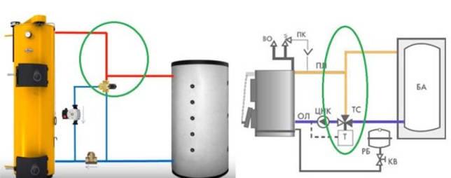 Обвязка теплоаккумулятора: добавочный контур для подмеса теплой воды в обратку