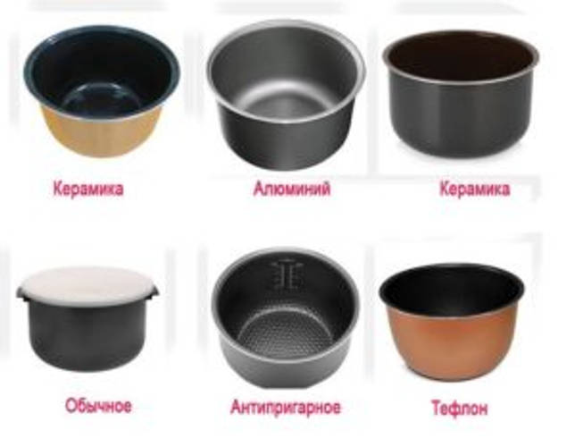 Чаши для мультиварок из разных материалов